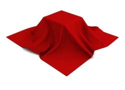 方形物体上的红布