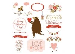 小熊和情人节标签素材
