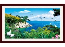 海岸风景中堂画