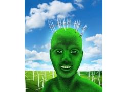 创意绿色环保人物