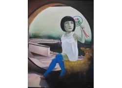女孩与梅花鹿油画