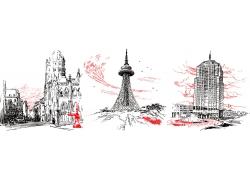 城市建筑风景插画