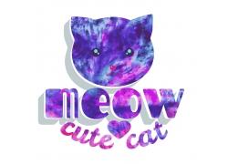 可爱猫咪艺术字印花图案