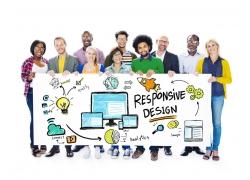 展示商务信息图标的商务团队