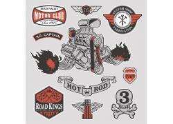 摩托车引擎插画图片