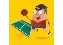 乒乓球运动员插画