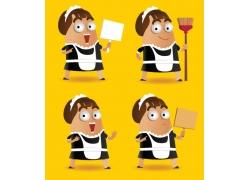 卡通女仆人物插画图片