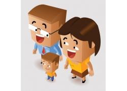 卡通家庭人物插画图片