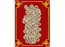 铜钱与中国风背景边框