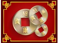 铜钱与中国风边框