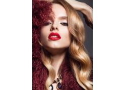性感红唇美发模特女人