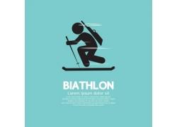 滑雪的卡通人物插画图片