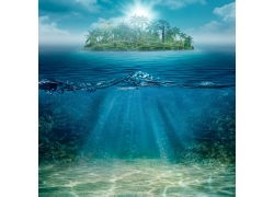 美丽小岛和海洋风景