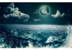 夜晚下的海面风景
