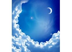 美丽星空和白云
