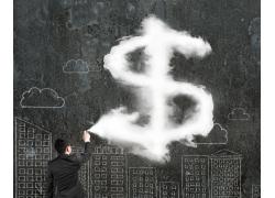 画美元符号的商务男人
