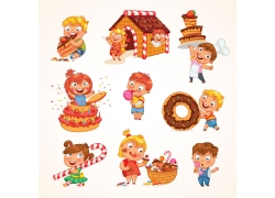 甜品蛋糕与卡通儿童