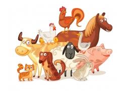 卡通家畜动物插画图片