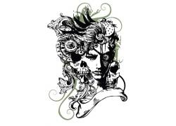 恐怖的时尚潮流美女T恤印花