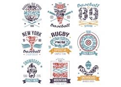 棒球运动T恤印花设计