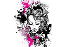 花朵美女印花T恤图案