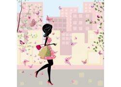 蝴蝶与购物美女插画图片