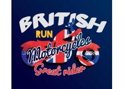 摩托车英文字印花图案
