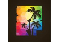 立体多边形椰子树印花图案