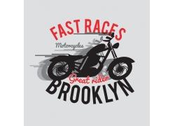 摩托车英文字母印花图案