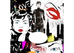 对话框与时尚女孩插画图片