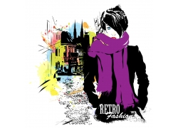 围围巾的美女与城市插画图片
