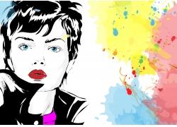 水彩墨迹与时尚女性插画图片