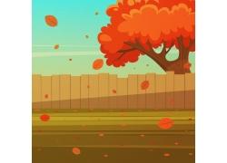 卡通树木围栏插画图片