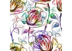 手绘玫瑰花无缝背景