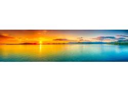 大海黄昏夕阳美景