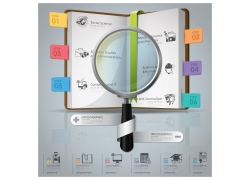 放大镜与书本信息图表