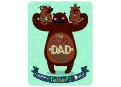 卡通小熊父亲节背景