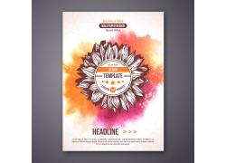 彩色水墨花朵宣传单图片