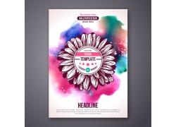 炫极水墨花朵宣传单图片