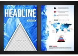 蓝色水彩三角形折页图片