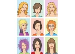 美发造型模特女人插画