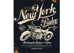 摩托车插画T恤印花设计