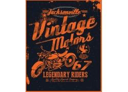 摩托车英文T恤印花