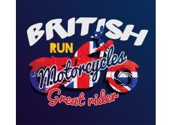 英文国旗摩托车T恤印花
