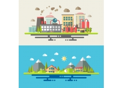 卡通城市建筑插画图片