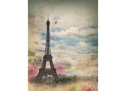 埃菲尔铁塔与玫瑰花