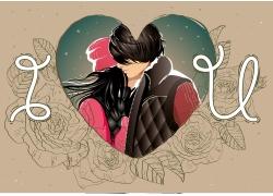 玫瑰花与卡通情侣插画图片