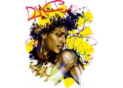 手绘黑人女性插画图片