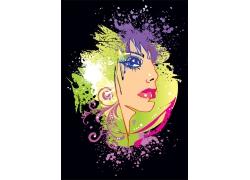 水彩喷溅女性插画图片