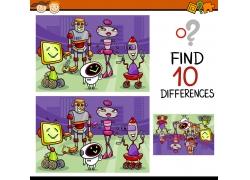 创意机器人卡通找茬游戏图片